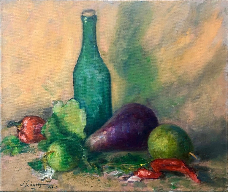 American Impressionist Fruits, Vegetables and Bottle Oil Painting For Sale 2