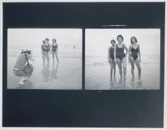 Vintage Silver Gelatin Photograph Print, Girls on a Beach Photo, Two Man Show