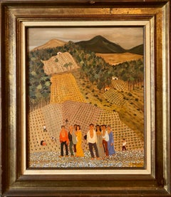French Folk Art Naive Oil Painting Workers in Vineyard, Les Vignes aux Gitans