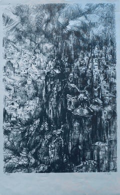 German Israeli Expressionist Abstract Lithograph Of Jerusalem Landscape