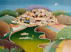 Folk Art Israeli Landscape Colorful Naive Jerusalem Landscape