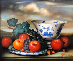 OIl Painting Still Life Delft Porcelain, Grapes & Apples Findlay Galleries Label