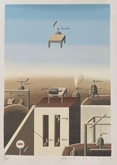 Latvian Israeli Surrealism Illustration Art Lithograph Screenprint Flying Baruch