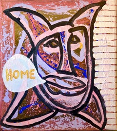 "Conceptual Pop Art Color Mixed Media Painting ""Home"" Brooke Alexander Gallery"