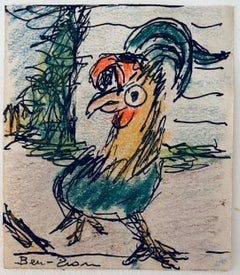 Crayon Pastel Drawing Rooster Jewish American Modernist WPA Artist School of Ten
