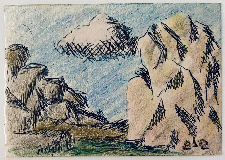 Pastel, Ink Drawing Rocks And Cloud Landscape Jewish American Modernist WPA