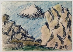 Pastel, Ink Drawing Rocks And Cloud Landscape Jewish American Modernist WPA
