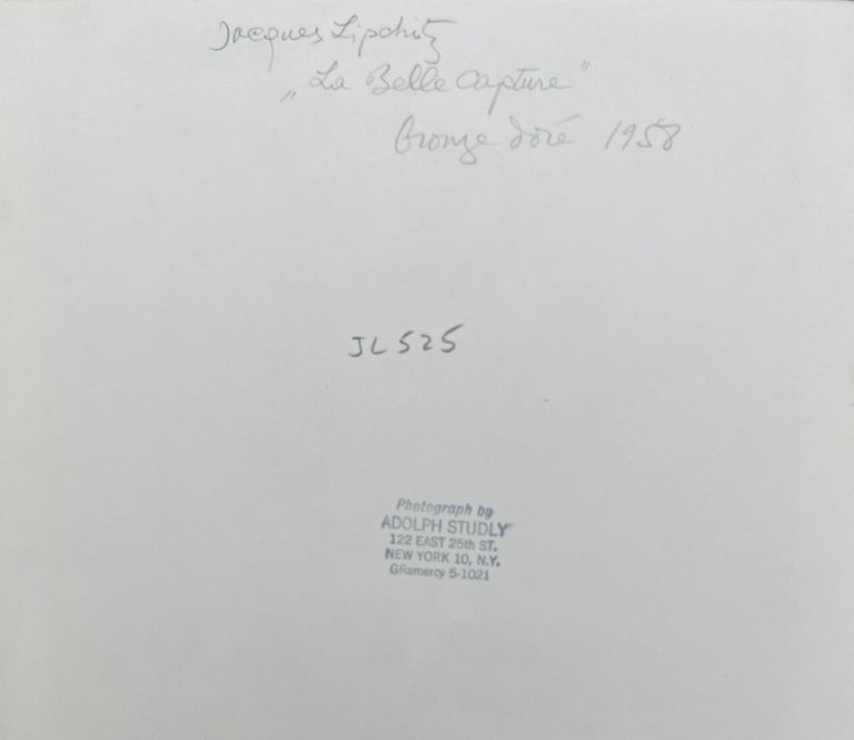 Vintage Silver Gelatin Photograph Jacques Lipchitz Bronze Sculpture Photo Signed For Sale 1