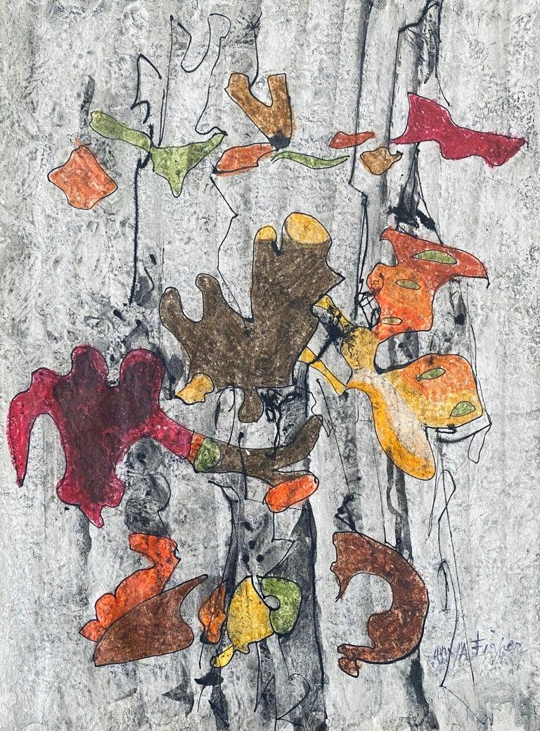 Anya Fisher Abstract Drawing - Abstract  falling leaves drawing