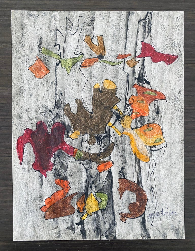 Abstract  falling leaves drawing  For Sale 3
