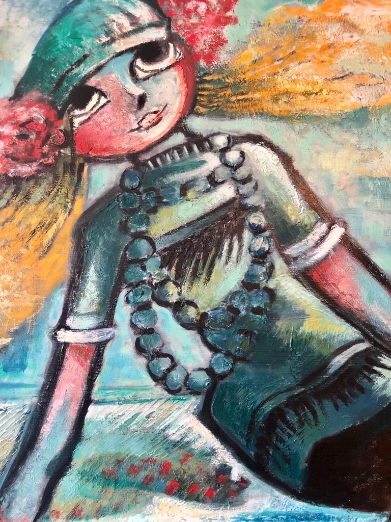 Large French Expressionist Oil Painting, Girl, Poupèe, the Doll, Ecole de Paris  For Sale 1