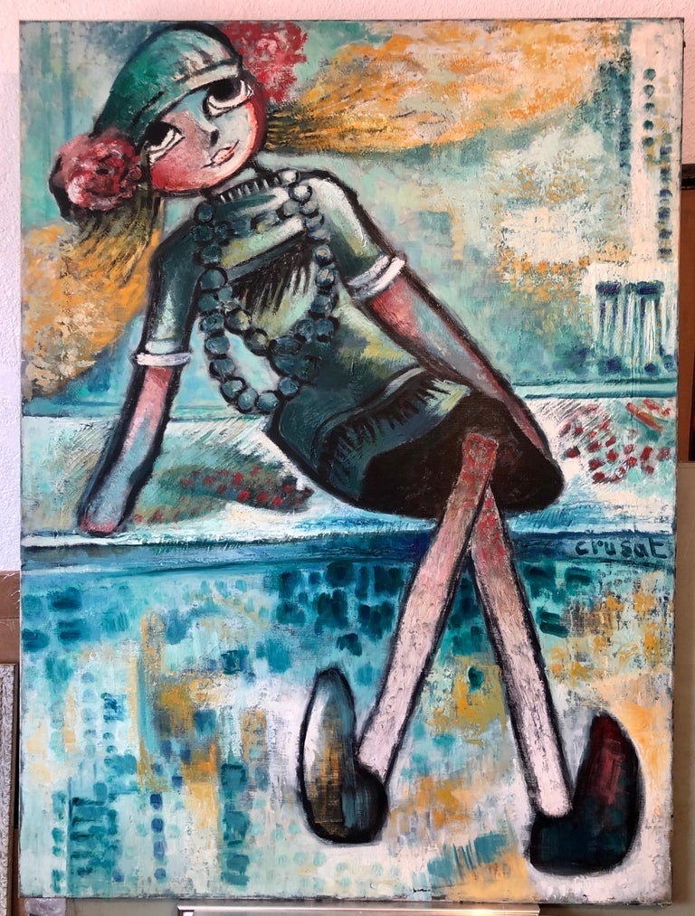 Large French Expressionist Oil Painting, Girl, Poupèe, the Doll, Ecole de Paris  For Sale 8