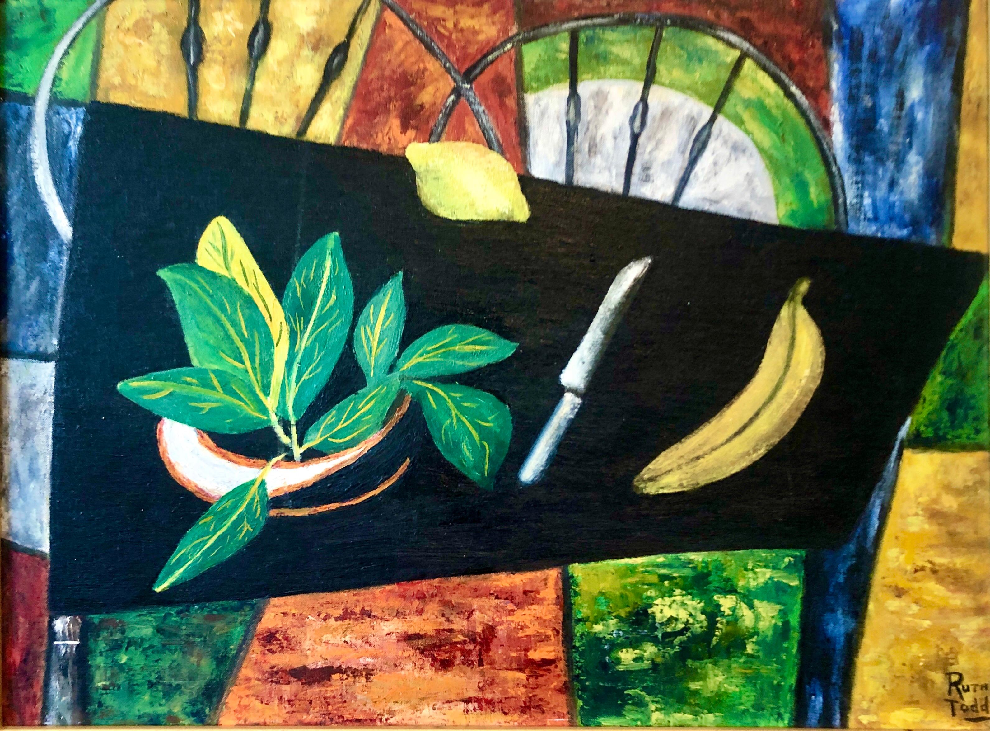 Colorado Woman Abstract Expressionist Oil Painting Modernist Still Life, Fruit