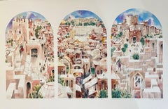 Old City Jerusalem Landscape Judaica Watercolor Painting Screen Print Lithograph