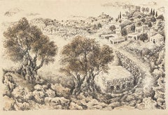 Hebron, 1969 Israeli Judaica Mixed Media Lithograph With Watercolor