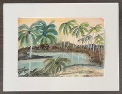British Artist Malcolm Morley Watercolor Painting Gouache Palm Trees Pop Art