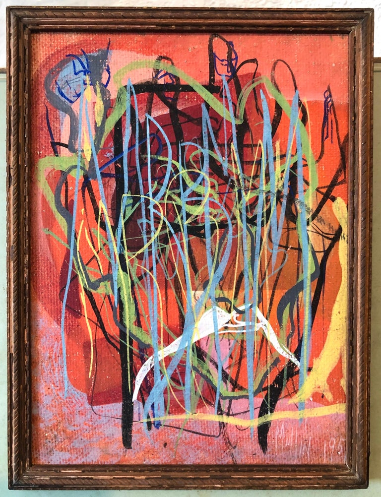 Surrealist Art Deco Figurative Abstract Expressionist Oil Painting Woman Artist For Sale 6