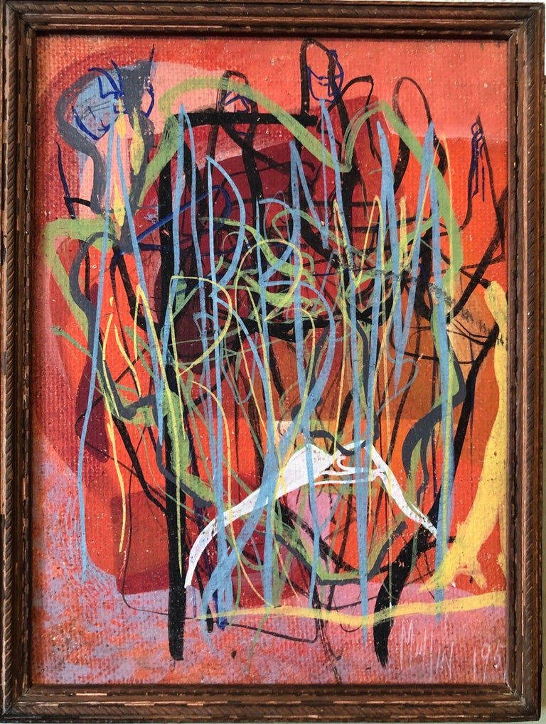 Margaret Mullin Abstract Painting - Surrealist Art Deco Figurative Abstract Expressionist Oil Painting Woman Artist