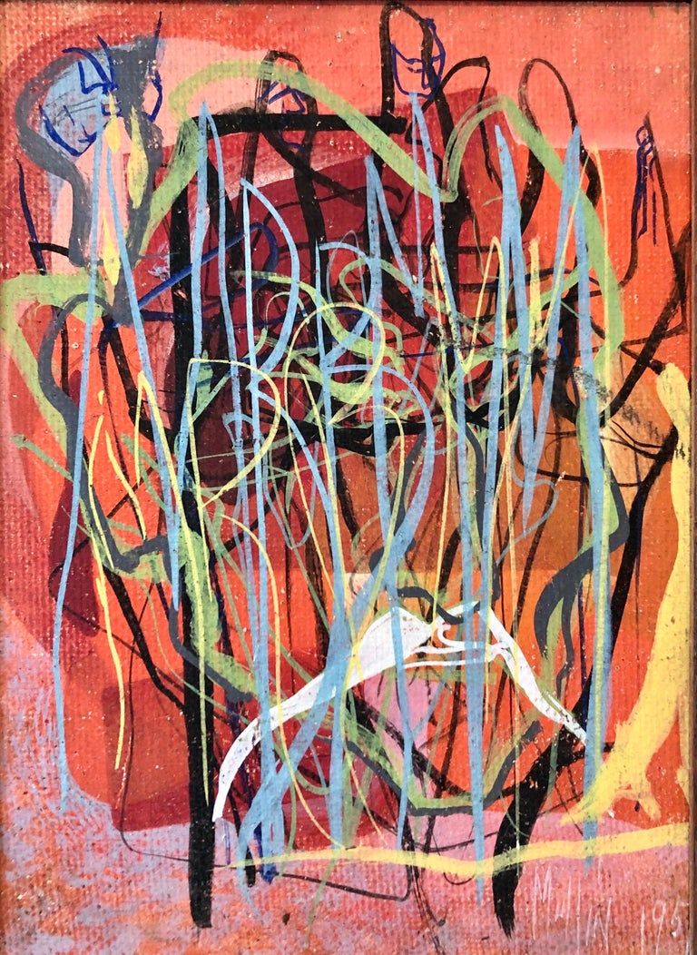 Surrealist Art Deco Figurative Abstract Expressionist Oil Painting Woman Artist - Brown Abstract Painting by Margaret Mullin