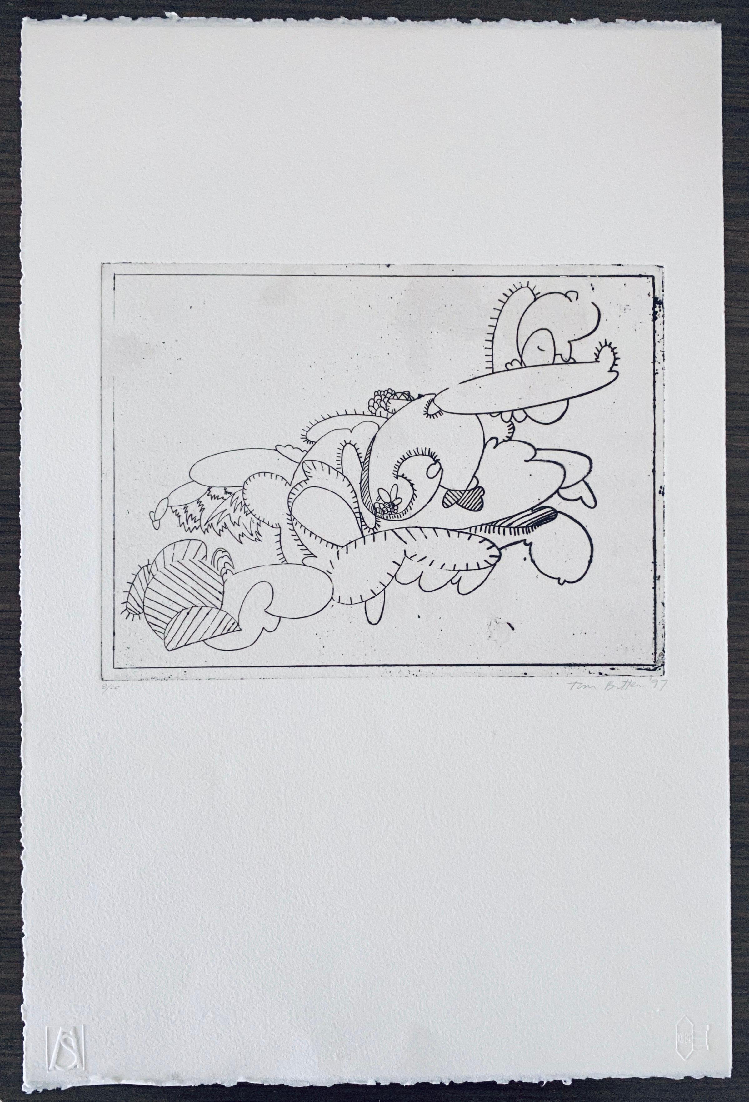 American Artist Contemporary Etching Tom Butter Cartoon Cactus Desert Landscape