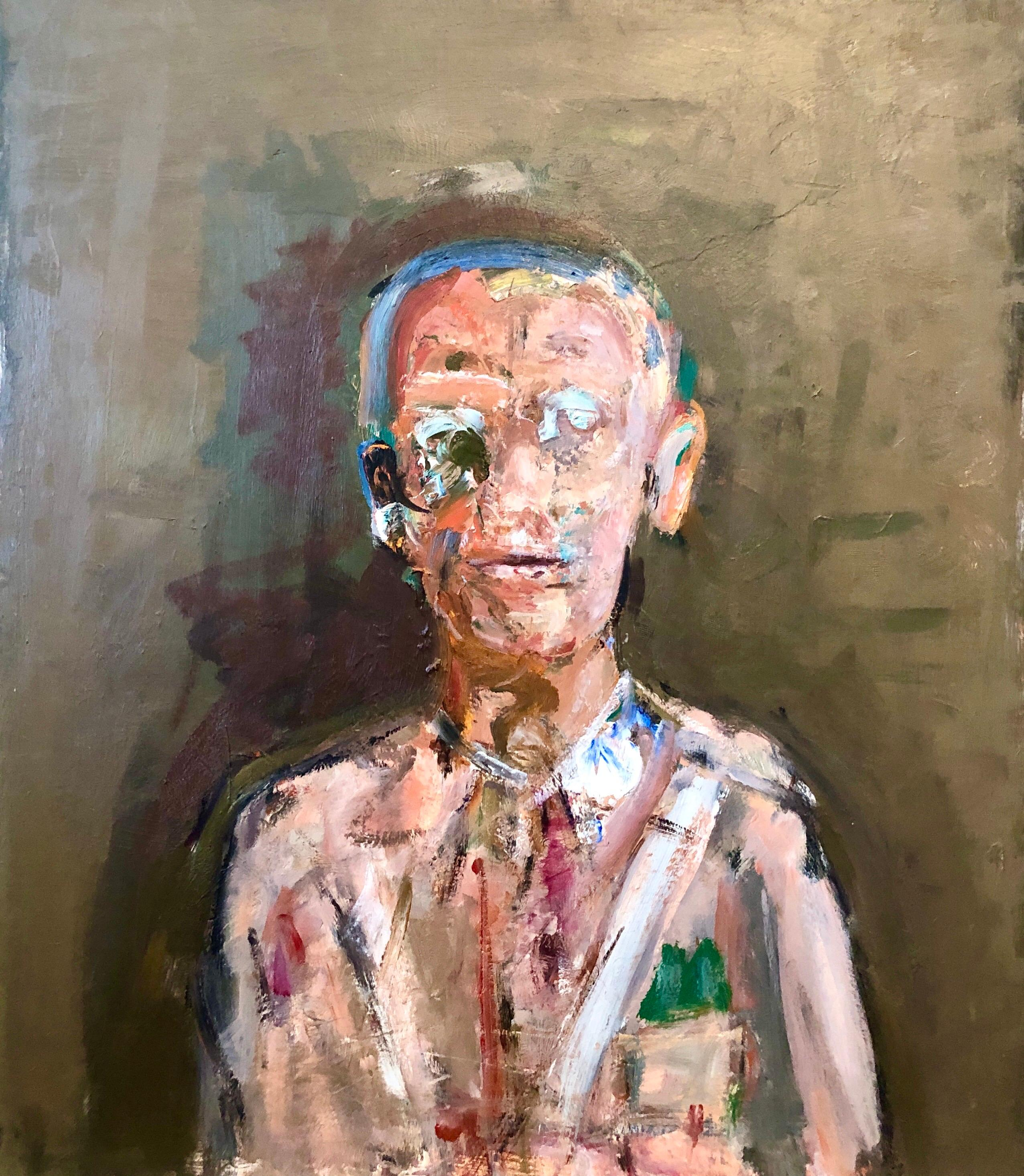 Military Man Portrait Figurative Abstract Oil Painting American Modernist Artist