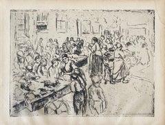 German Impressionist Marketplace Etching