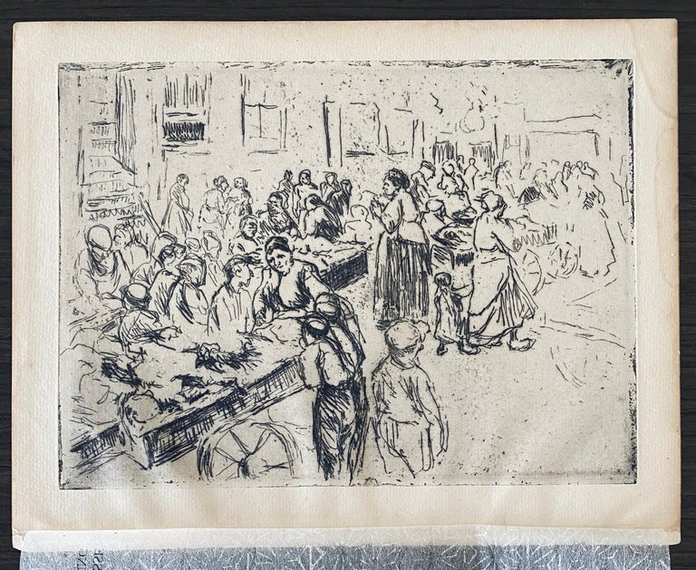 German Impressionist Marketplace Etching  For Sale 1