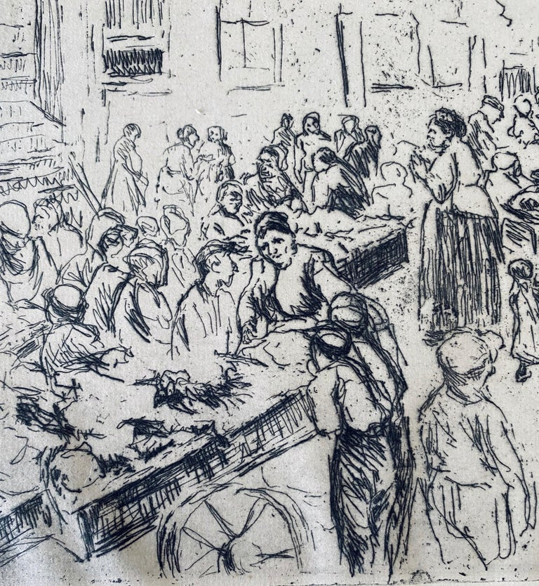 German Impressionist Marketplace Etching  For Sale 2
