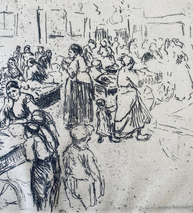 German Impressionist Marketplace Etching  For Sale 3