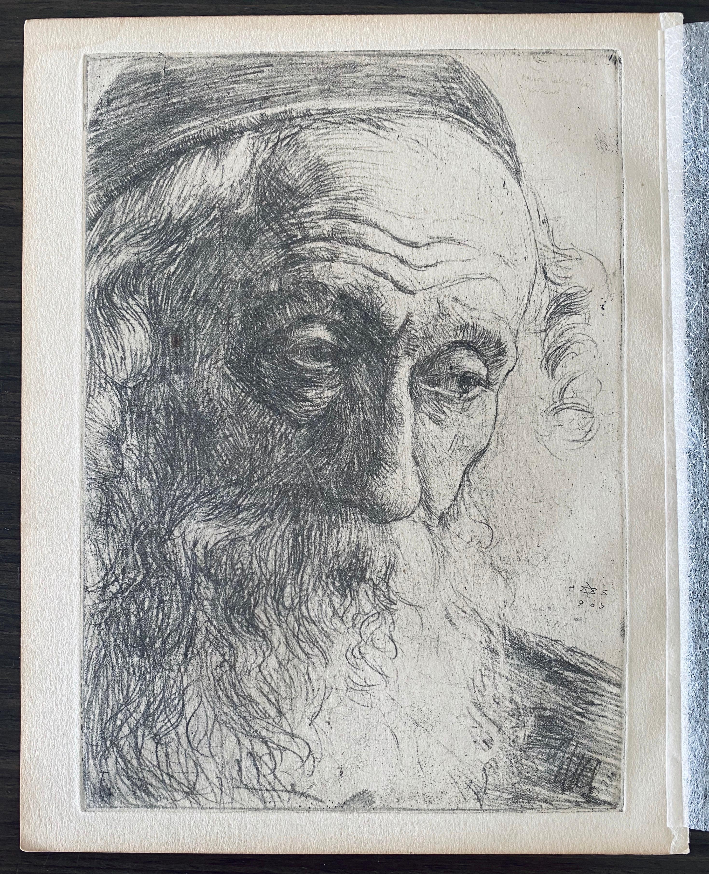 German Artist Impressionist Etching Judaica Jewish Rabbi Bezalel School