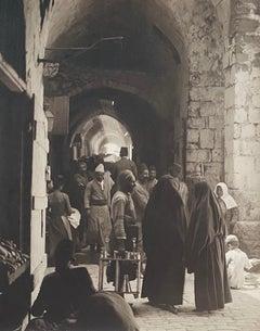 Vintage Large Albumen Photo - Via Dolorosa In Station Of The Bross. Jerusalem