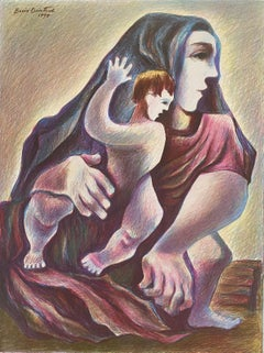 Lithuanian Artist Colored Lithograph Mother And Son - Boris Deutsch