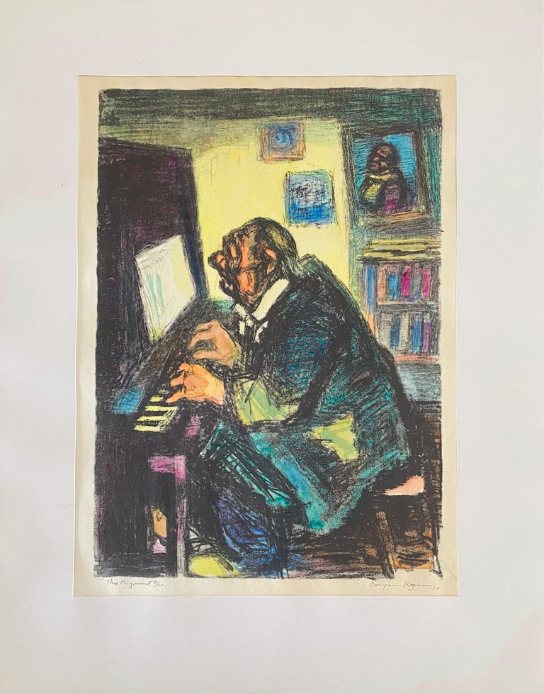 Expressionist Hand Signed Lithograph - Benjamin Kopman  For Sale 1