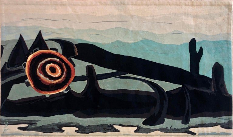 Handmade Wool Tapestry American Abstract Modernist Arthur Dove Aubusson Style  - Painting by (after) Arthur Dove