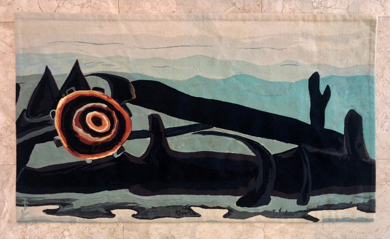 Handmade Wool Tapestry American Abstract Modernist Arthur Dove Aubusson Style  For Sale 7