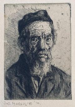 1920 Austrian American Artist Judaica Portrait Etching Jewish Rabbi Antique Art