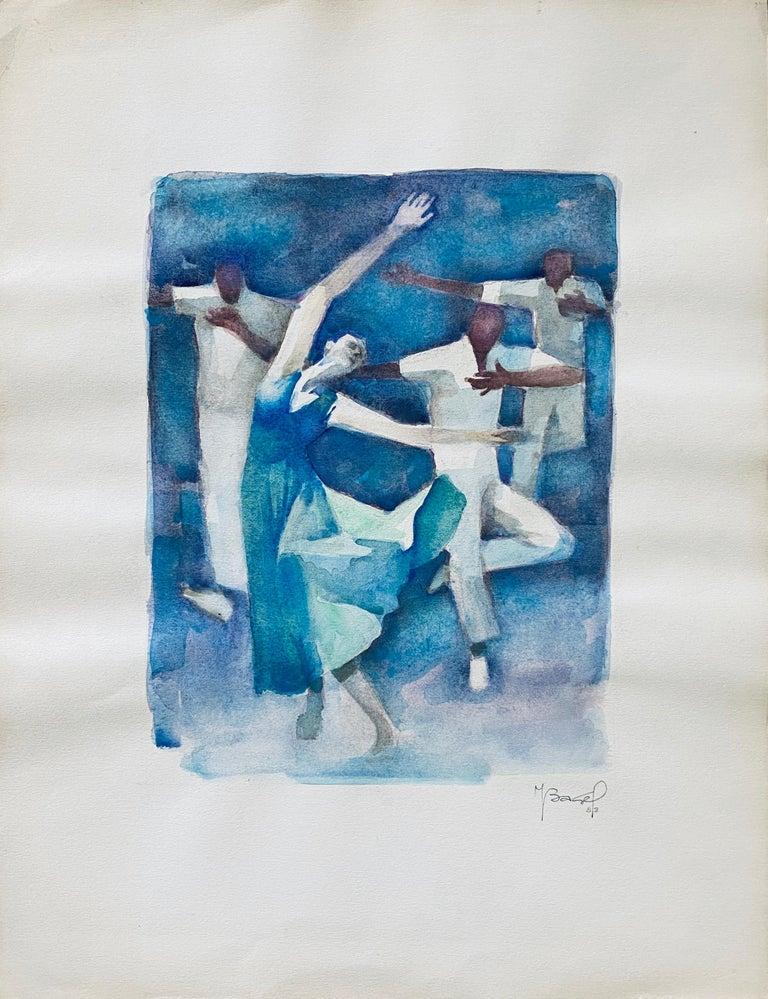 Polish French Judaica Watercolor Gouache Painting Original Bauhaus Yiddish Art - Blue Figurative Art by Moses Bagel Bahelfer