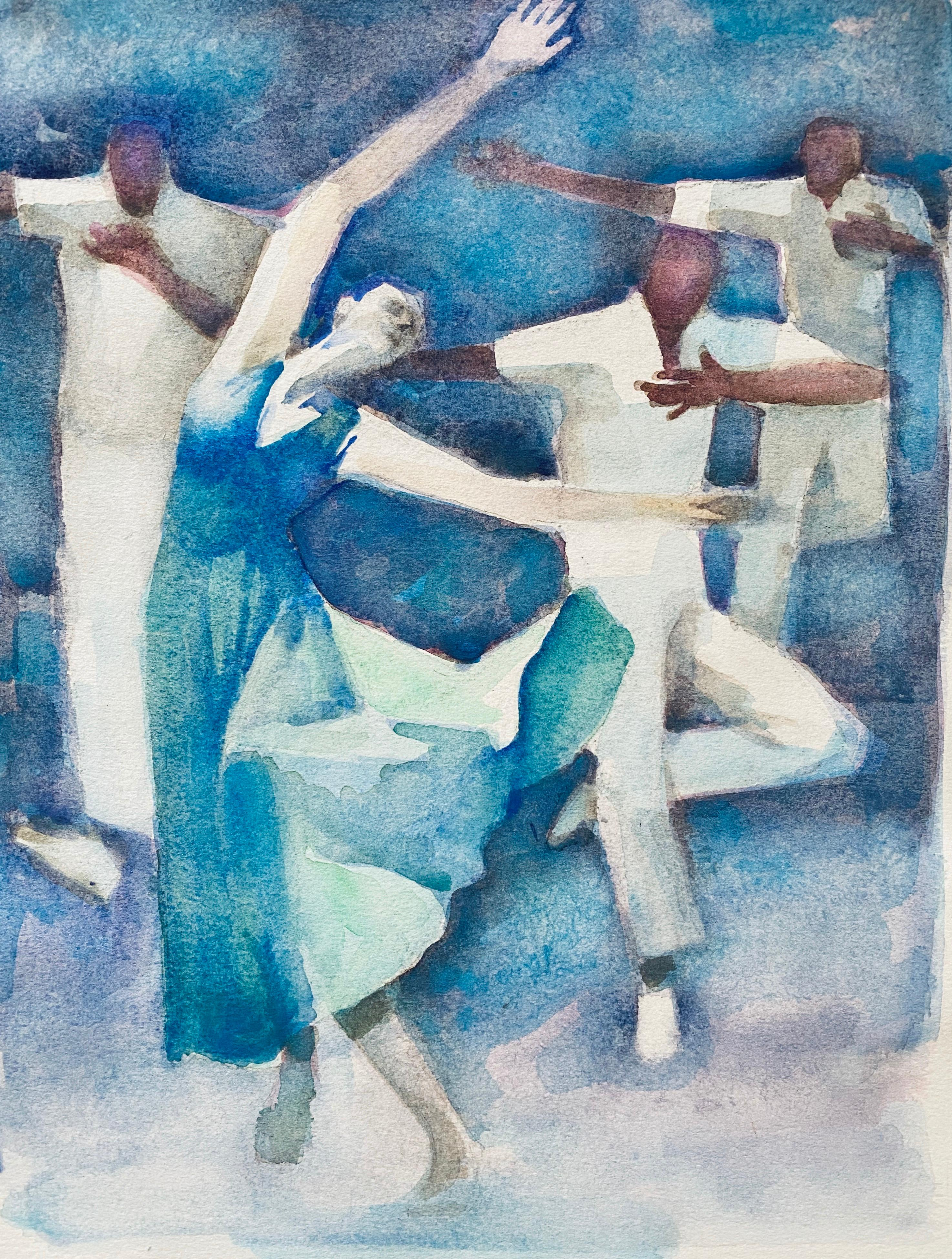 Polish French Judaica Watercolor Gouache Painting Original Bauhaus Yiddish Art