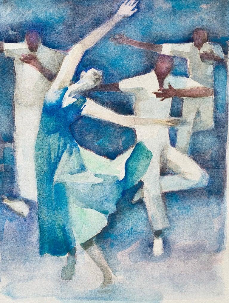Moses Bagel Bahelfer Figurative Art - Polish French Judaica Watercolor Gouache Painting Original Bauhaus Yiddish Art