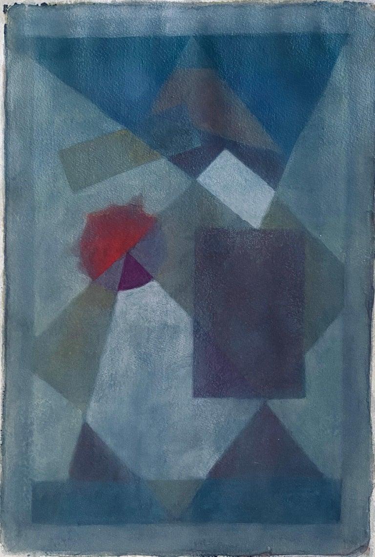 Moses Bagel Bahelfer Abstract Drawing - Polish French Judaica Watercolor Gouache Painting Original Bauhaus Yiddish Art