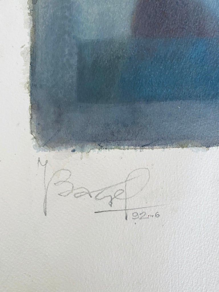 Polish French Judaica Watercolor Gouache Painting Original Bauhaus Yiddish Art For Sale 3
