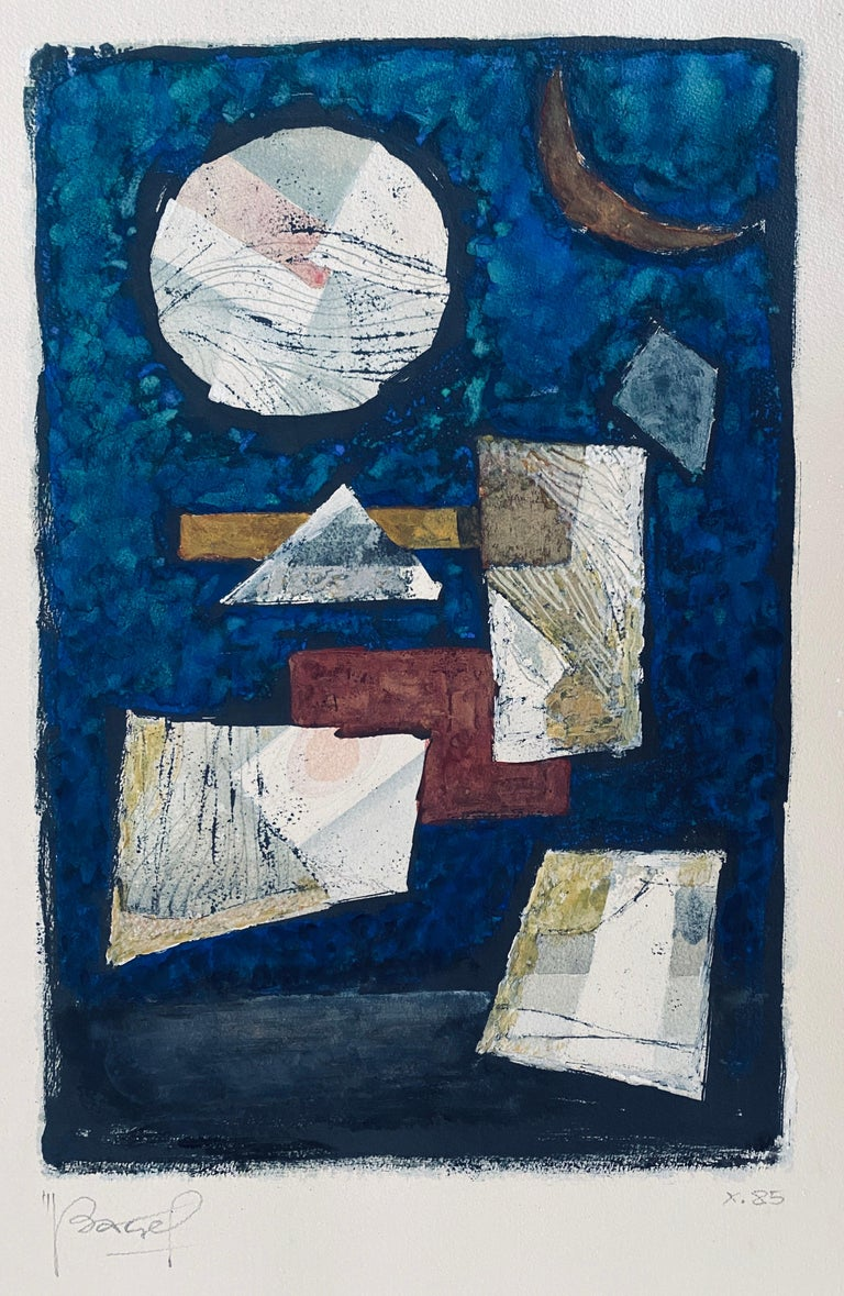 Polish French Judaica Watercolor Gouache Painting Original Bauhaus Yiddish Art - Blue Abstract Drawing by Moses Bagel Bahelfer