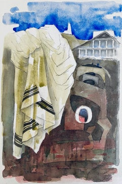 Polish French Judaica Watercolor Gouache Painting Original Bauhaus Yiddish Art