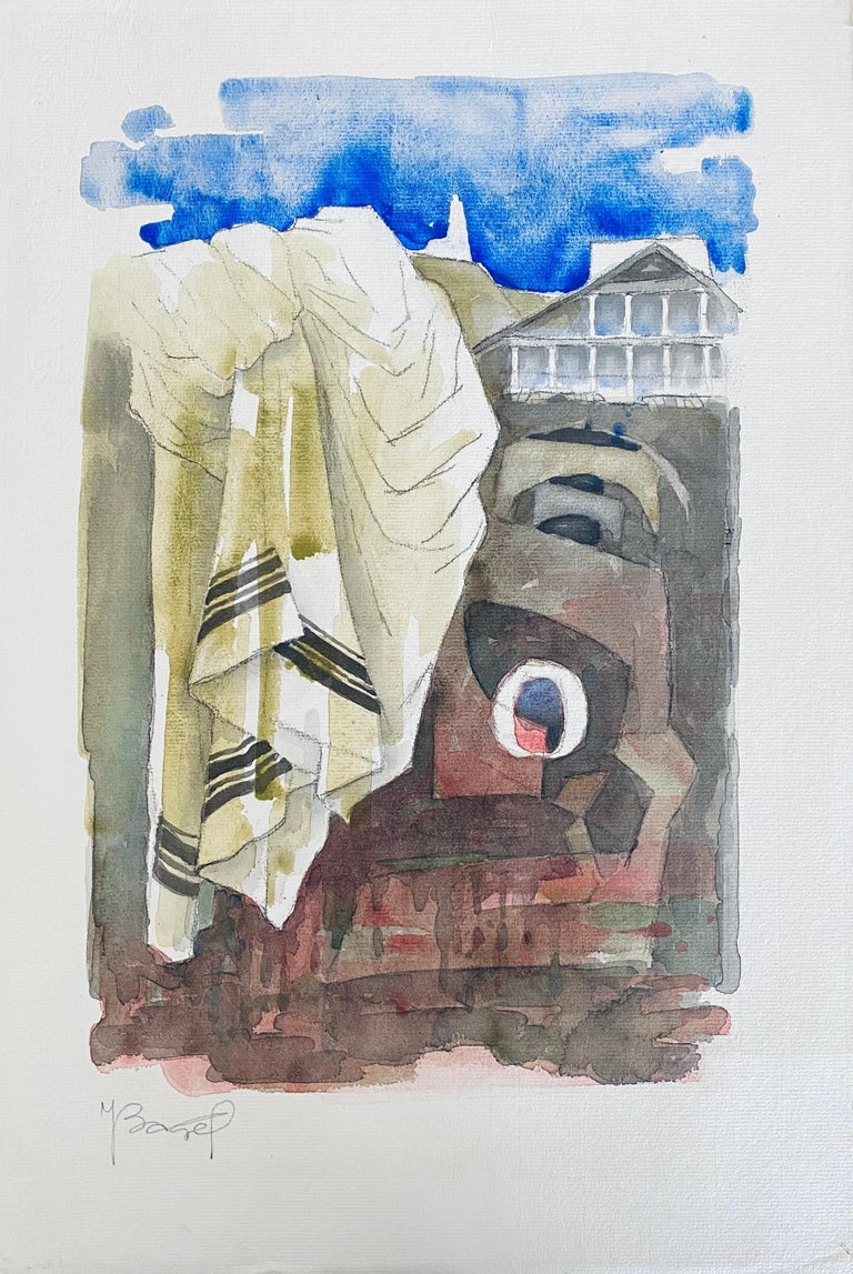 Polish French Judaica Watercolor Gouache Painting Original Bauhaus Yiddish Art - Gray Abstract Drawing by Moses Bagel Bahelfer