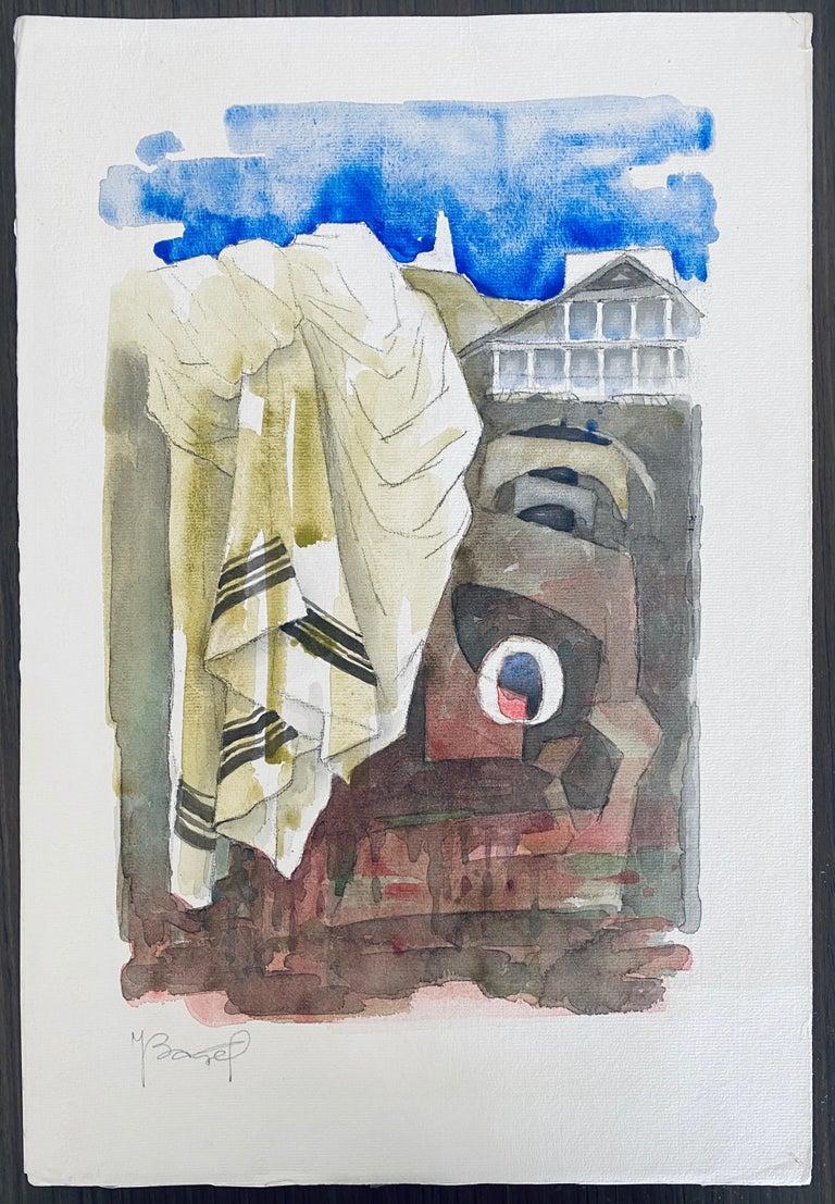 Polish French Judaica Watercolor Gouache Painting Original Bauhaus Yiddish Art For Sale 4