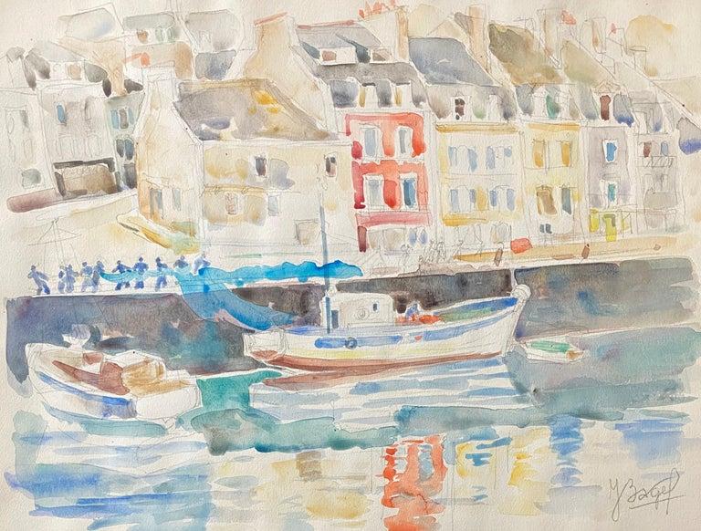 Polish French Judaica Watercolor Gouache Painting Original Bauhaus Yiddish Art - Beige Figurative Art by Moses Bagel Bahelfer