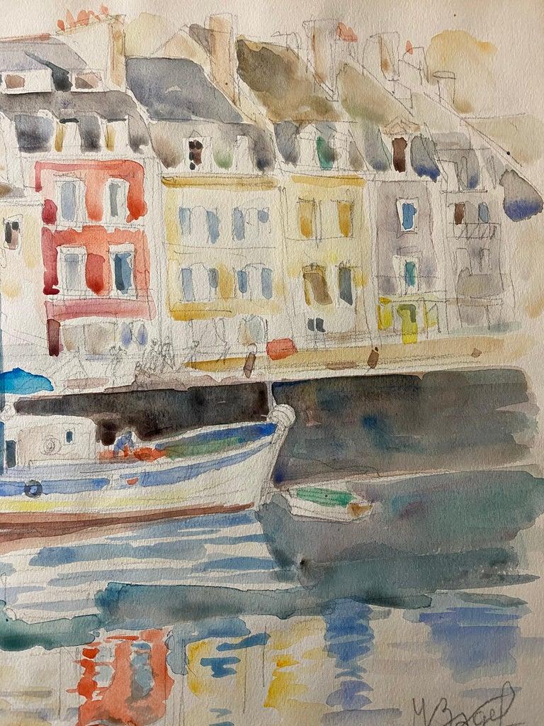 Polish French Judaica Watercolor Gouache Painting Original Bauhaus Yiddish Art For Sale 2
