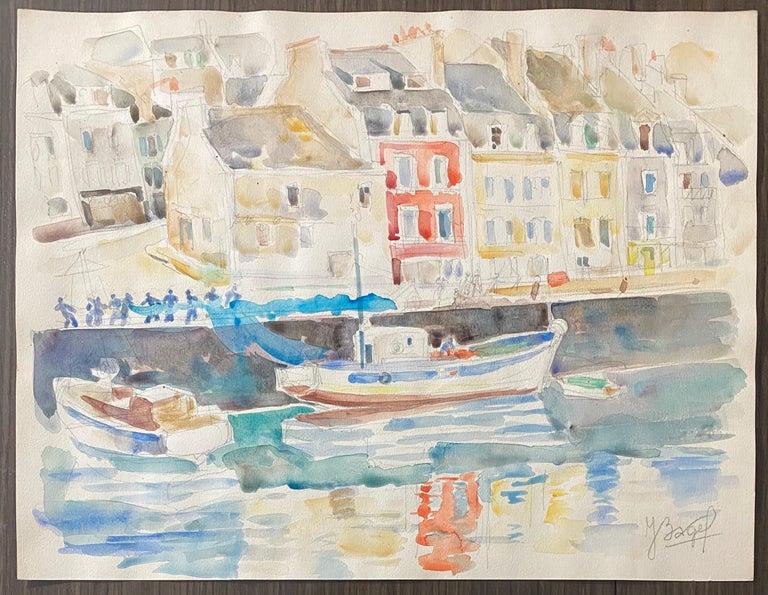 Polish French Judaica Watercolor Gouache Painting Original Bauhaus Yiddish Art For Sale 5
