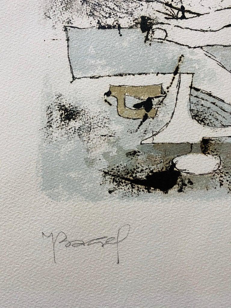 Polish French Judaica Watercolor Gouache Painting Original Bauhaus Yiddish Art For Sale 1