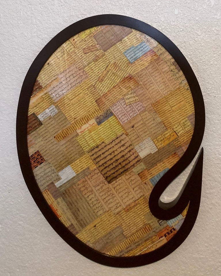 Shaped Collage Painting in Carved Wood Frame Iranian American Contemporary Art - Sculpture by Andisheh Avini